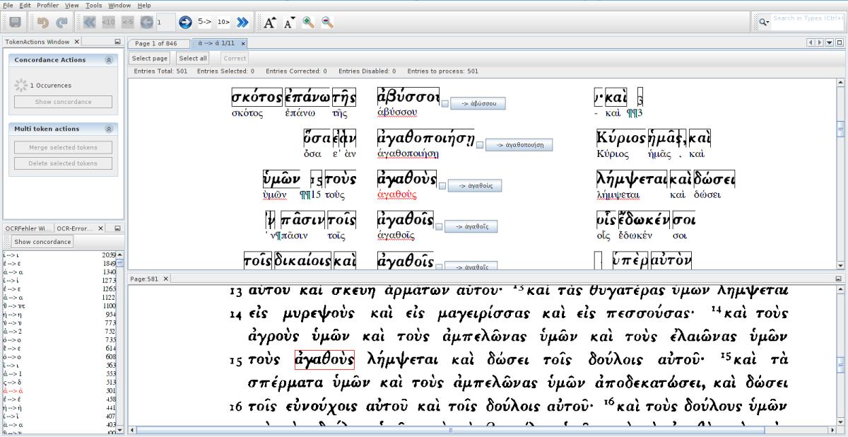 PoCoTo bei der Korrektur eines altgriechischen Textes